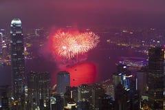 Feux d'artifice de Hong Kong pendant l'année neuve chinoise Image stock