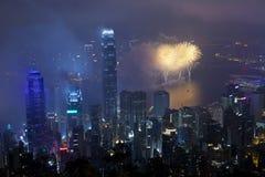 Feux d'artifice de Hong Kong pendant l'année neuve chinoise Photos stock