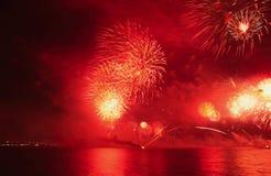 Feux d'artifice de jour national de Doha Image libre de droits