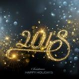 Feux d'artifice de la nouvelle année 2018 Images stock