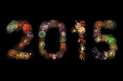 Feux d'artifice de la nouvelle année 2015 Photographie stock