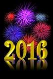Feux d'artifice de la nouvelle année 2016 Photo stock