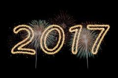 Feux d'artifice de la nouvelle année 2017 Images stock