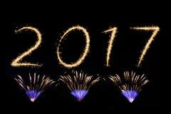 Feux d'artifice de la nouvelle année 2017 Photo stock
