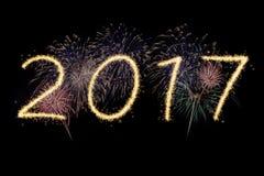 Feux d'artifice de la nouvelle année 2017 Images libres de droits