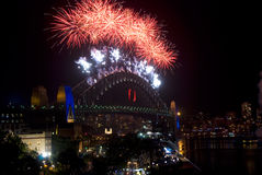 Feux d'artifice de la passerelle de port de Sydney NYE Photo libre de droits