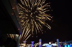 Feux d'artifice de la veille de nouvelles années de ville de Varna Image libre de droits