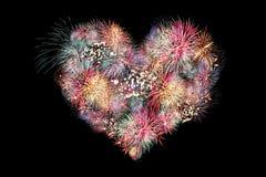Feux d'artifice de mélange de coeur. Image stock