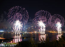 Feux d'artifice de New York City Manhattan Images stock