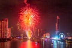 Feux d'artifice de nouvelle année à Bangkok, Thaïlande Image libre de droits