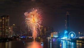 Feux d'artifice de nouvelle année à Bangkok, Thaïlande Photographie stock