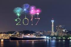 2017 feux d'artifice de nouvelle année au-dessus de marina aboient dans la ville de Yokohama, Japon Photo libre de droits
