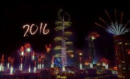 Feux d'artifice 2016 de nouvelle année de Dubaï Photos libres de droits