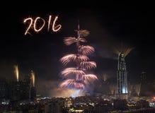 Feux d'artifice 2016 de nouvelle année de Dubaï Photographie stock libre de droits