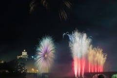 Feux d'artifice de nuit à Turin, Italie Image libre de droits