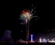 Feux d'artifice de plage de Coney Island Images stock