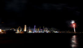 Feux d'artifice de plage de Coney Island Images stock