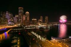 Feux d'artifice 1 de port de Boston Photographie stock libre de droits