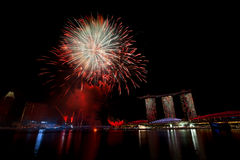 Feux d'artifice de Singapour Photographie stock