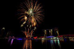 Feux d'artifice de Singapour Image stock