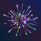 Feux d'artifice de vecteur Fond abstrait avec les lignes lumineuses et le calibre créatif rougeoyant d'effet de la lumière de par Images stock