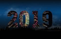 Feux d'artifice 2019 de ville de nouvelle année Image libre de droits