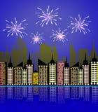 Feux d'artifice de ville de nuit Feu d'artifice de célébration de festin de vacances, pétard de fête célébré sur la nouvelle anné illustration stock