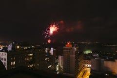 Feux d'artifice du centre, quatrième de juillet, Memphis, TN Photographie stock libre de droits