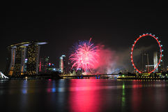 Feux d'artifice du jour national 2012 de Singapour Photos stock
