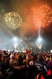 Feux d'artifice du ` s de nouvelle année à Belgrade Photos stock