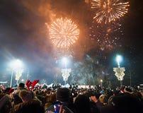 Feux d'artifice du ` s de nouvelle année à Belgrade Images stock