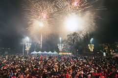 Feux d'artifice du ` s de nouvelle année à Belgrade Photos libres de droits