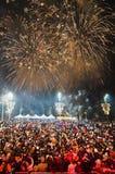 Feux d'artifice du ` s de nouvelle année à Belgrade Image stock