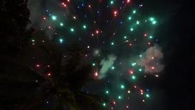 Feux d'artifice du ` s de nouvelle année au-dessus de l'île tropicale banque de vidéos