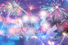 Feux d'artifice du ` s de nouvelle année en hommage à de la tristesse Photos stock