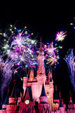 Feux d'artifice en Cinderella Castle Image stock
