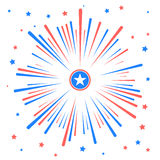 Feux d'artifice et étoiles dans des couleurs américaines nationales Images libres de droits