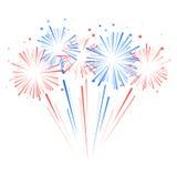 Feux d'artifice et étoiles dans des couleurs nationales de drapeau américain Photos libres de droits