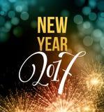 Feux d'artifice et confettis 2017 de nouvelle année Illustration de vecteur Image stock