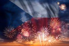 Feux d'artifice et drapeau de République Tchèque illustration de vecteur