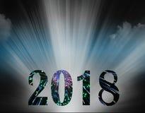 Feux d'artifice et projecteur de la nouvelle année 2018 Image libre de droits