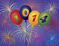 Feux d'artifice Illustratio de ballons de la bonne année 2014 Photo stock