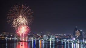 Feux d'artifice internationaux 2014 de Pattaya Photo libre de droits