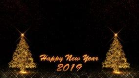 Feux d'artifice légers d'or de bokeh de particules d'éclat de la bonne année 2019 illustration de vecteur