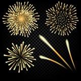 Feux d'artifice lumineux en l'honneur des vacances sur un fond noir Trois fusées Illustration Photo libre de droits