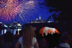 Feux d'artifice Ottawa 2012 de jour du Canada Images libres de droits