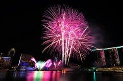 Feux d'artifice pendant l'ouverture 2010 de Jeux Olympiques de la jeunesse Image libre de droits