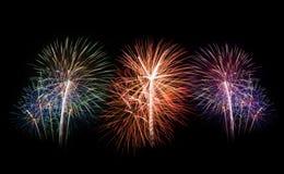 Feux d'artifice réglés Feux d'artifice de célébration de nouvelle année Photos libres de droits
