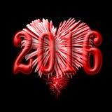 2016, feux d'artifice rouges dans la forme d'un coeur Photographie stock libre de droits