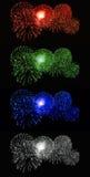 Feux d'artifice rouges, verts, bleus, blancs Photo libre de droits